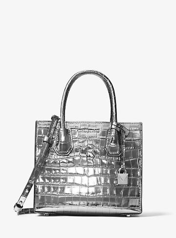 Michael Michael Kors Mercer Metallic Embossed-leather Crossbody