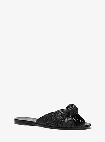 Michael Kors Collection Serena Knotted Leather Slide