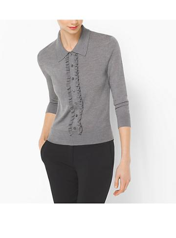 Michael Kors Collection Ruffled Merino Wool Polo Sweater
