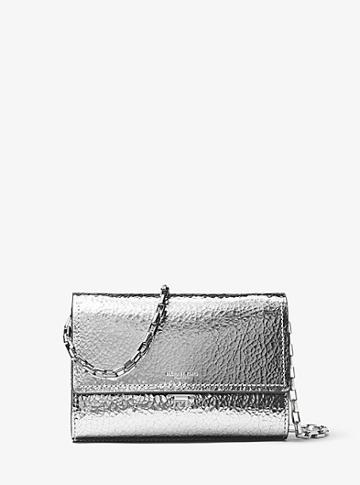 Michael Kors Yasmeen Small Crackled Metallic Leather Clutch