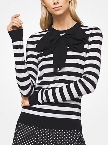 Michael Kors Collection Striped Tropical Cashmere Bow Pullover
