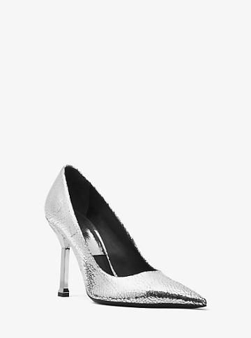 Michael Kors Collection Dresden Crackled Metallic Leather Pump