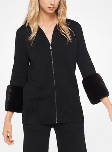 Michael Kors Collection Mink-cuffed Cashmere Hoodie