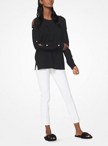 Michael Kors Collection Cashmere Button-sleeve Pullover