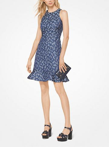 Michael Michael Kors Floral Twill Jacquard Dress