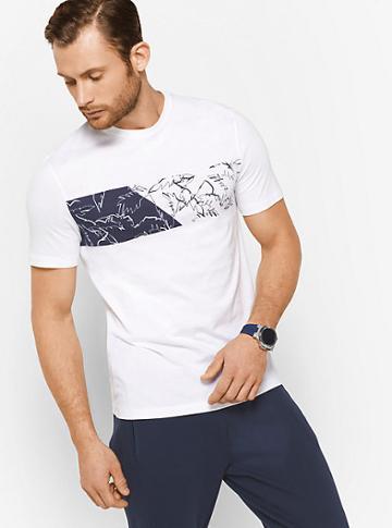Michael Kors Mens Palm-print Cotton T-shirt
