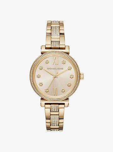 Michael Kors Mini Sofie Pave Gold-tone Watch