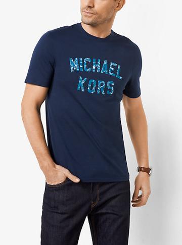 Michael Kors Mens Varsity Logo Graphic Cotton T-shirt
