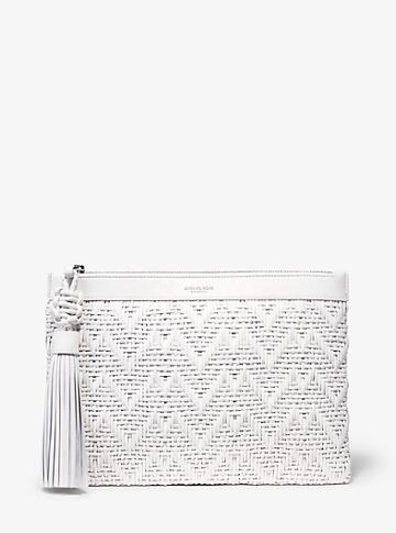 Michael Kors Collection Loren Woven Leather Pouch