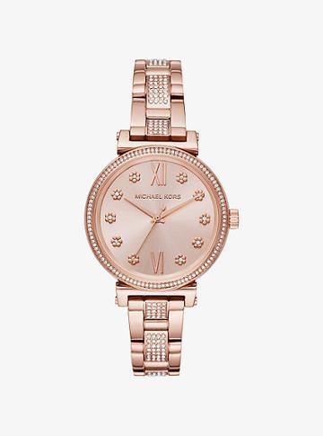 Michael Kors Mini Sofie Pave Rose Gold-tone Watch