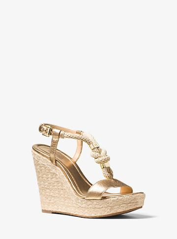 Michael Michael Kors Holly Rope-trim Metallic Leather Wedge