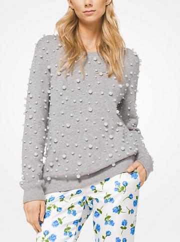 Michael Kors Collection Pearl Embroidered Cashmere Sweatshirt
