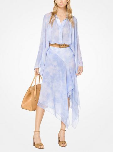 Michael Kors Collection Tie-dye Silk-chiffon Scarf Skirt