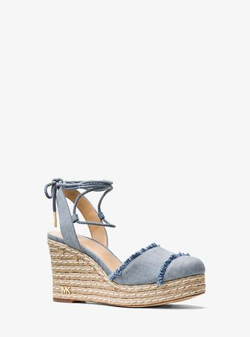Michael Michael Kors Tibby Lace-up Denim Wedge