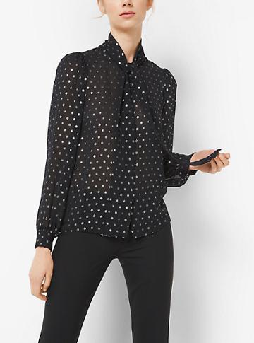 Michael Kors Collection Metallic Dot Silk-georgette Blouse