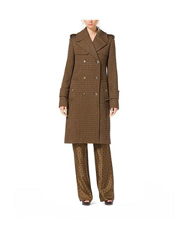 Michael Kors Collection Guncheck Wool-melton Officers Coat