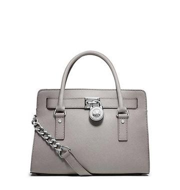 Michael Kors Hamilton Saffiano Leather Satchel Handbag In Pearl Grey