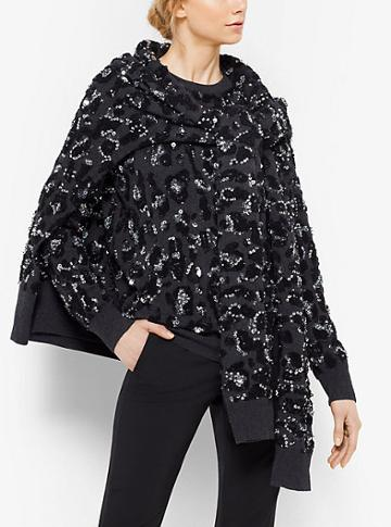 Michael Kors Collection Leopard Embroidered Cashmere Scarf