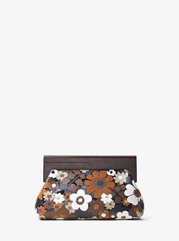 Michael Kors Collection Stanwyck Floral Intarsia Leather Clutch