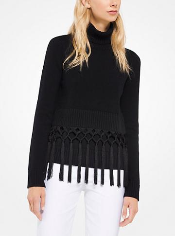 Michael Kors Collection Fringed Cashmere Pullover