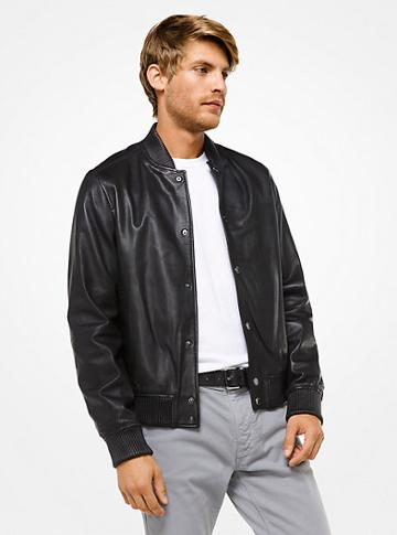Michael Kors Mens Perforated Leather Bomber Jacket