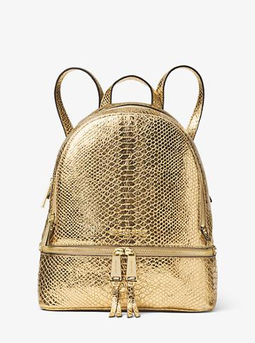 Michael Michael Kors Rhea Medium Metallic Embossed-leather Backpack