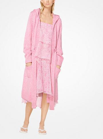 Michael Kors Collection Cashmere Tweed Bathrobe Cardigan