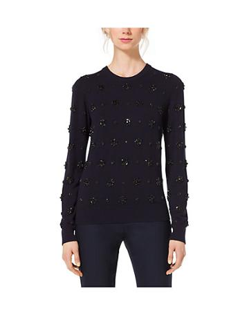 Michael Kors Collection Gem-embroidered Cashmere Sweater