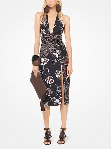Michael Kors Collection Mixed Floral Douppioni Halter Dress
