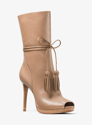 Michael Michael Kors Rosalie Leather Open-toe Mid-calf Boot