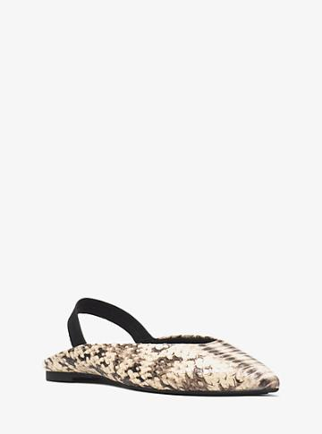 Michael Michael Kors Eliza Snake-embossed Leather Flat