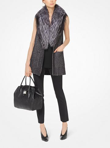Michael Kors Collection Houndstooth Wool Vest With Fox Fur Collar