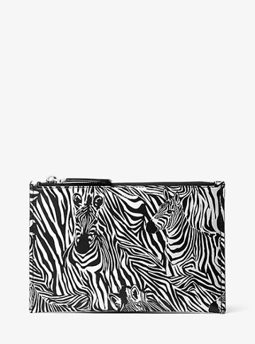 Michael Kors Collection Bancroft Large Zebra Print Calf Leather Pouch