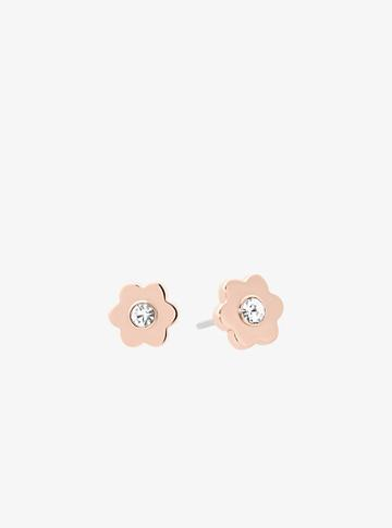 Michael Kors Rose Gold-tone Floral Stud Earrings