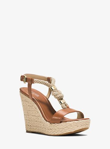 Michael Michael Kors Holly Rope-trim Leather Wedge