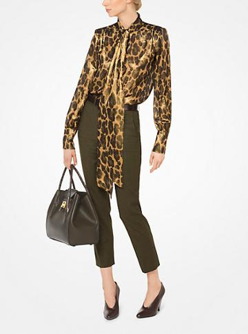 Michael Kors Collection Leopard Silk-lame Tie-neck Blouse