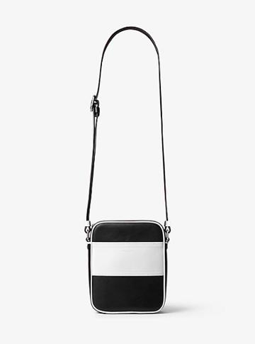 Michael Kors Collection Nikki Striped Calf Leather Crossbody