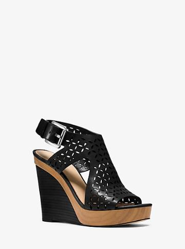 Michael Michael Kors Josephine Perforated-leather Wedge