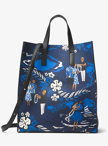 Michael Kors Collection Prescott Tropical Welcome Print Leather Tote