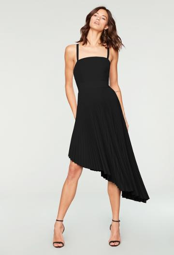 Milly Pleated Eliza Dress-closed - Black