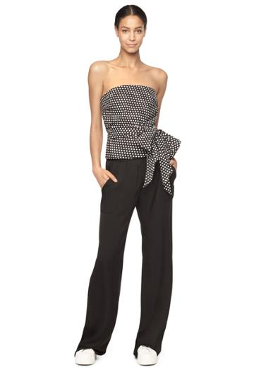 Milly Dot Print Strapless Bow Blouse