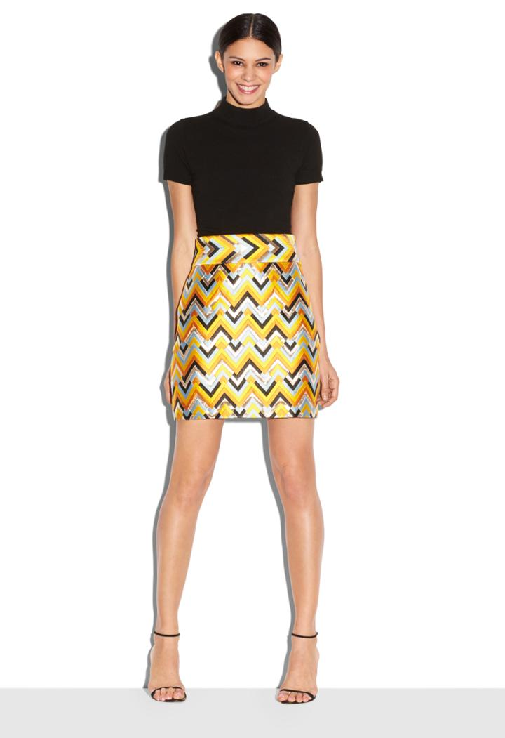 Milly Chevron Brocade Aline Skirt