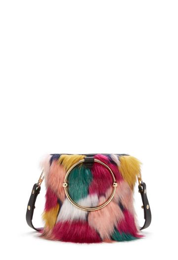 Milly Fur Drawstring Bucket - Multi