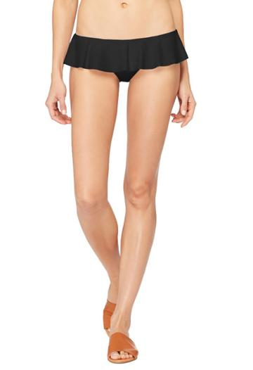 Milly Sirolo Ruffle Bikini Bottom - Black