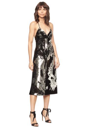 Milly Cross Back Bias Dress - Silver/black