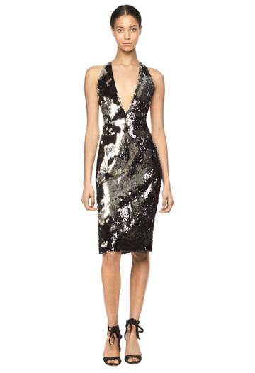 Milly Camilla Dress - Silver/black