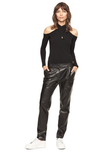 Milly Lightweight Leather Pleat Pant
