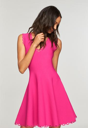 Milly Eyelet Scallop Flare Dress - Raspberry