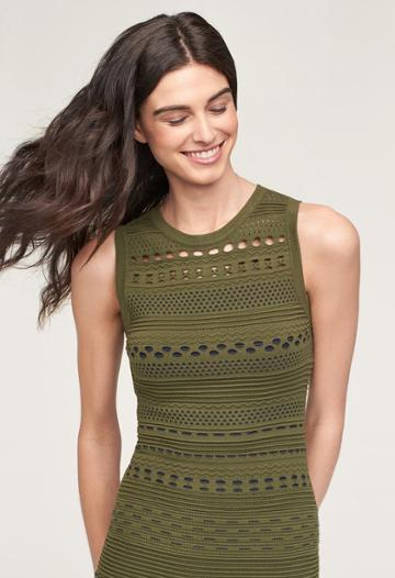 Milly Knit Lace Cutout Mermaid Dress - Olive/navy