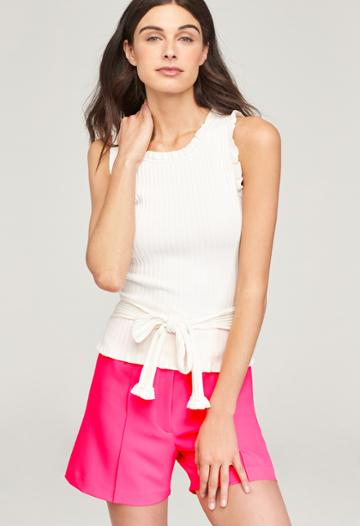 Milly Ruffle Tie Wrap Shell - White